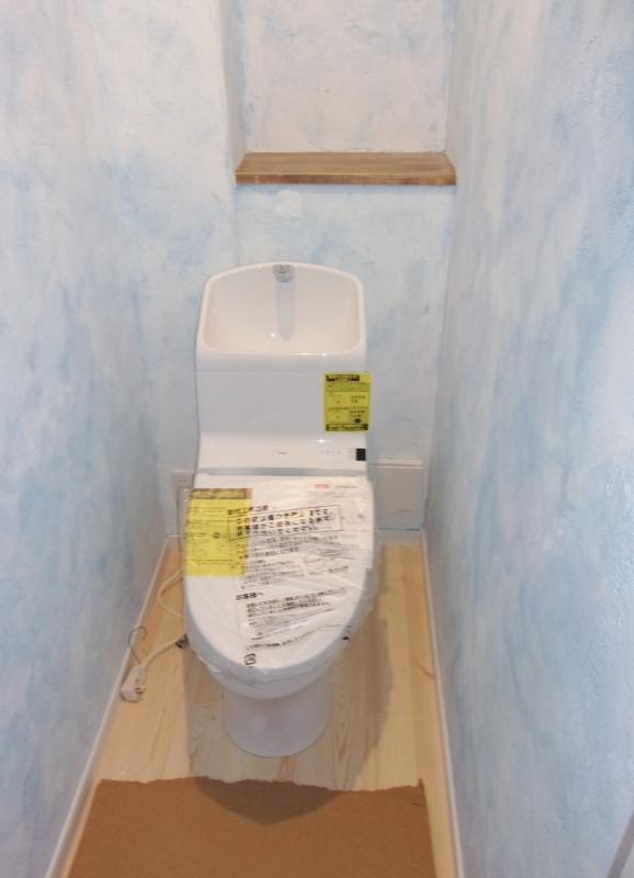 厚木市M様邸トイレ漆喰蜜蝋塗装